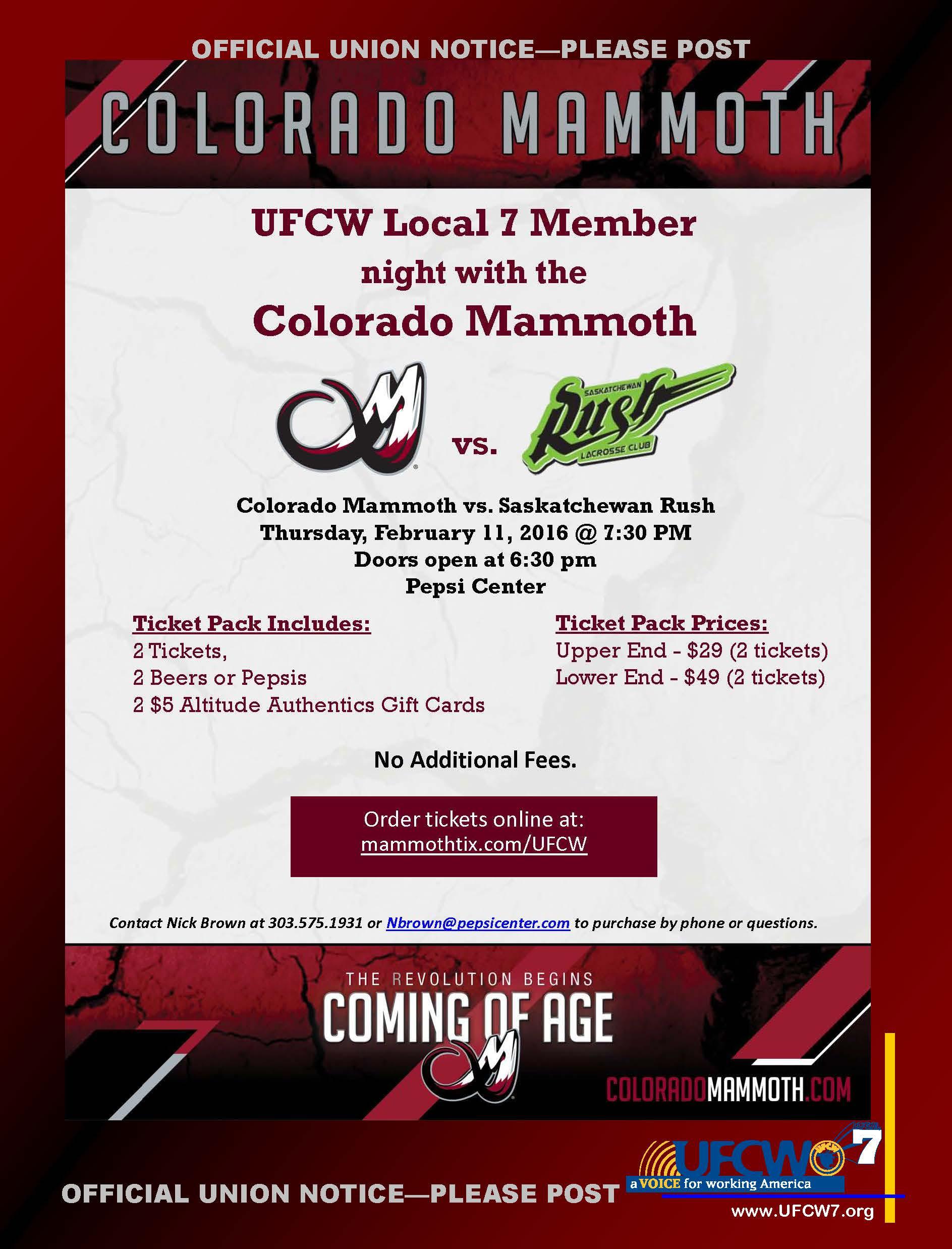 Colorado Mammoth Tickets
