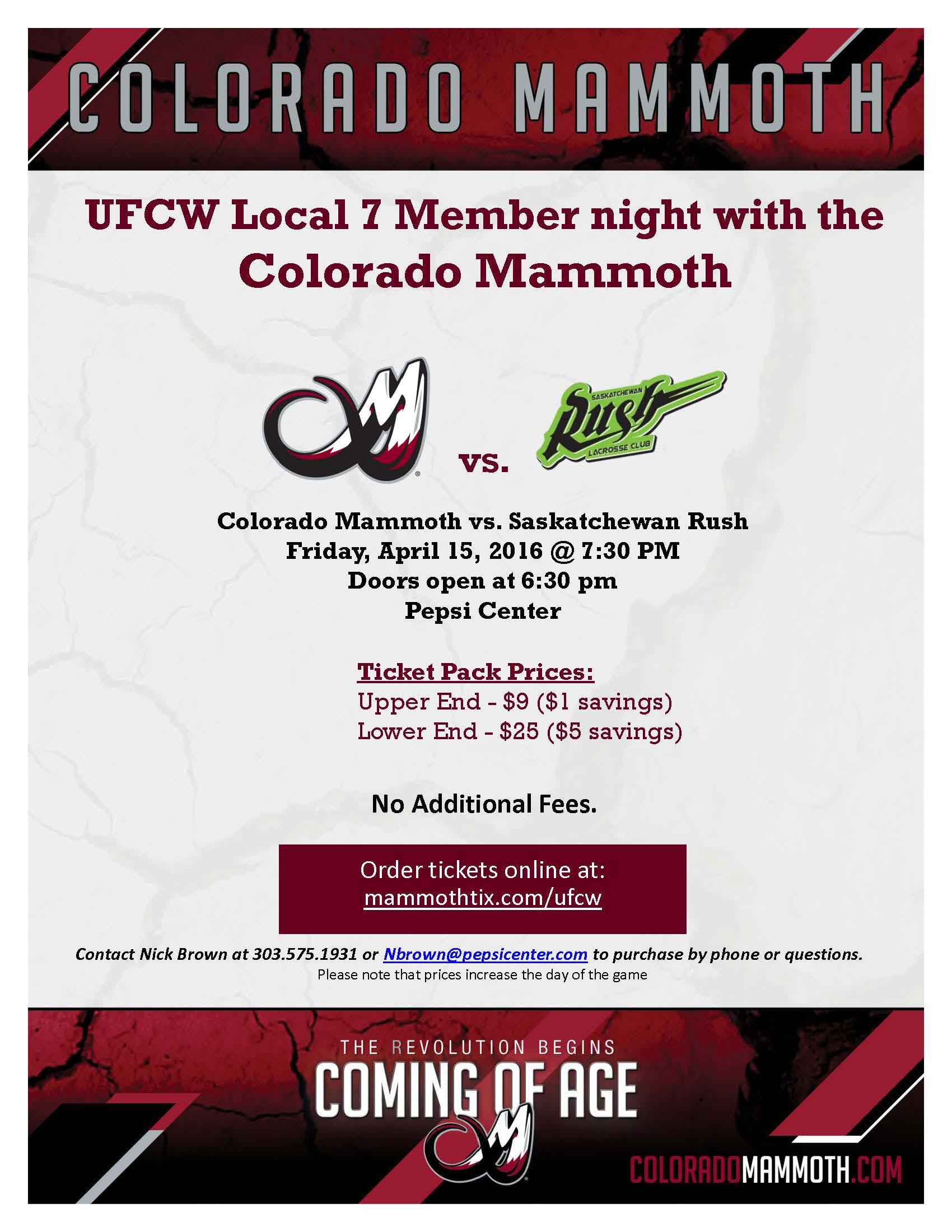 Colorado Mammoth Discounted Tickets