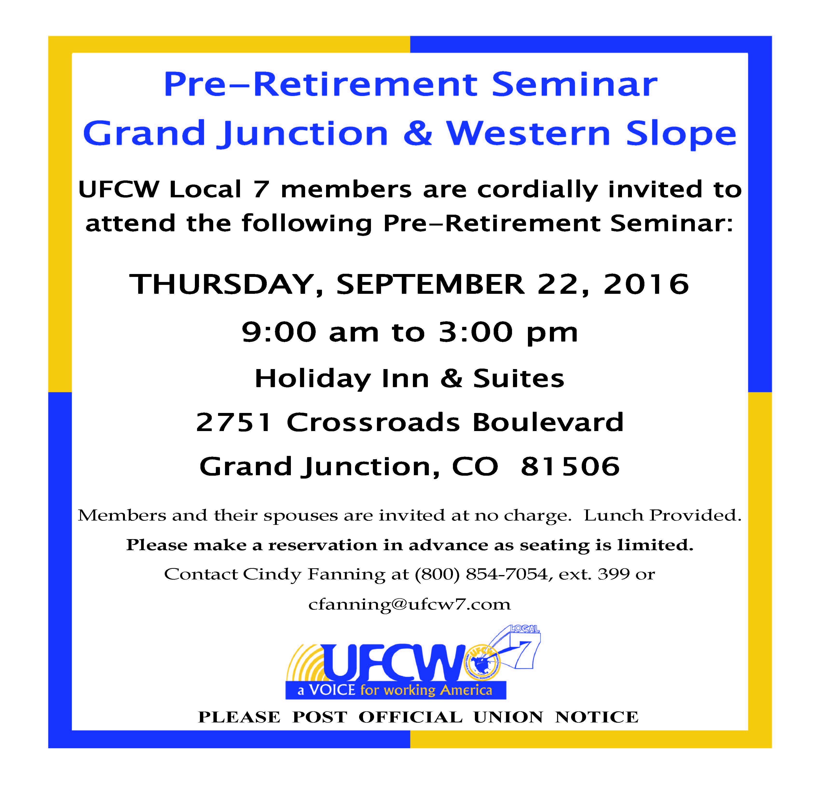 Pre-Retirement Seminar – Western Slope