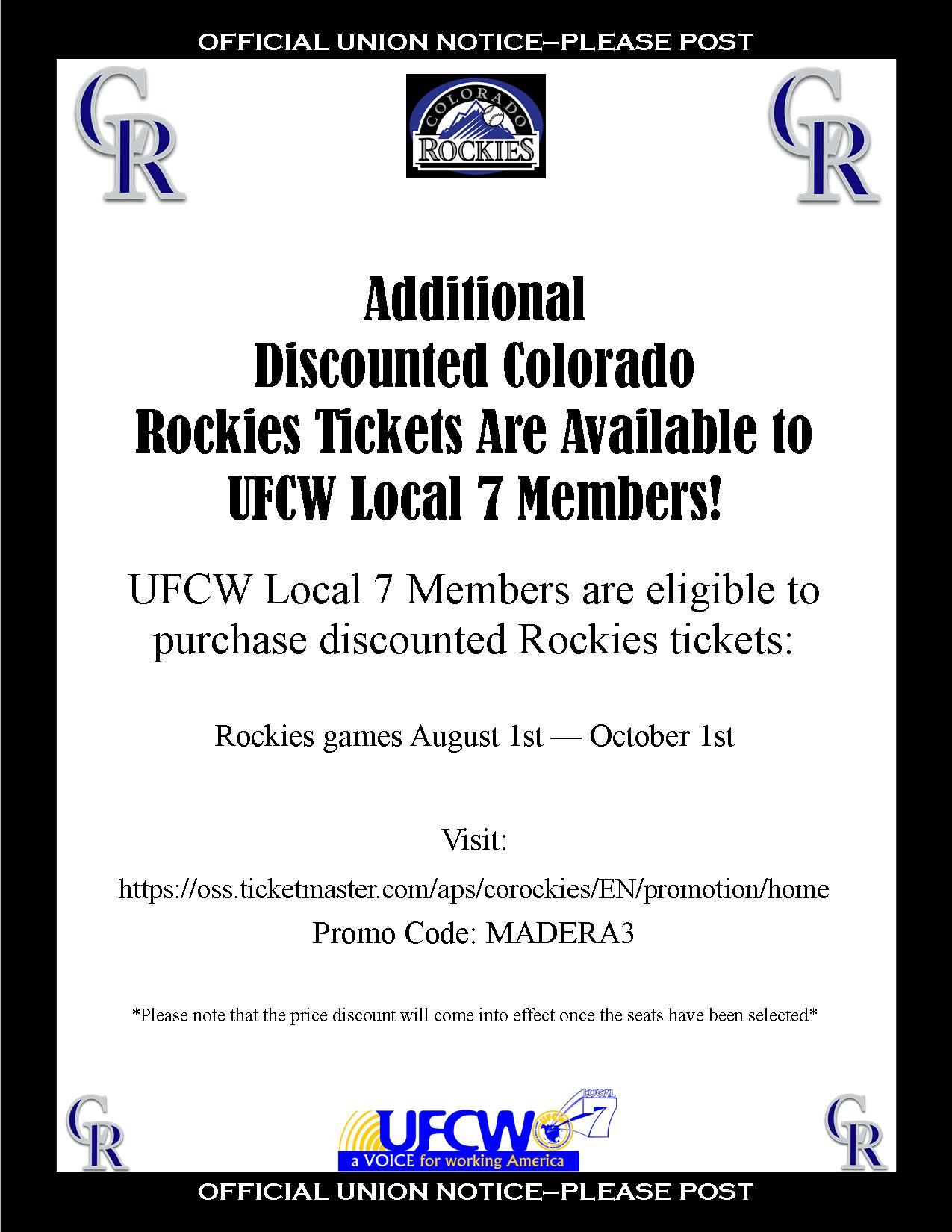 Discount Colorado Rockies Tickets!
