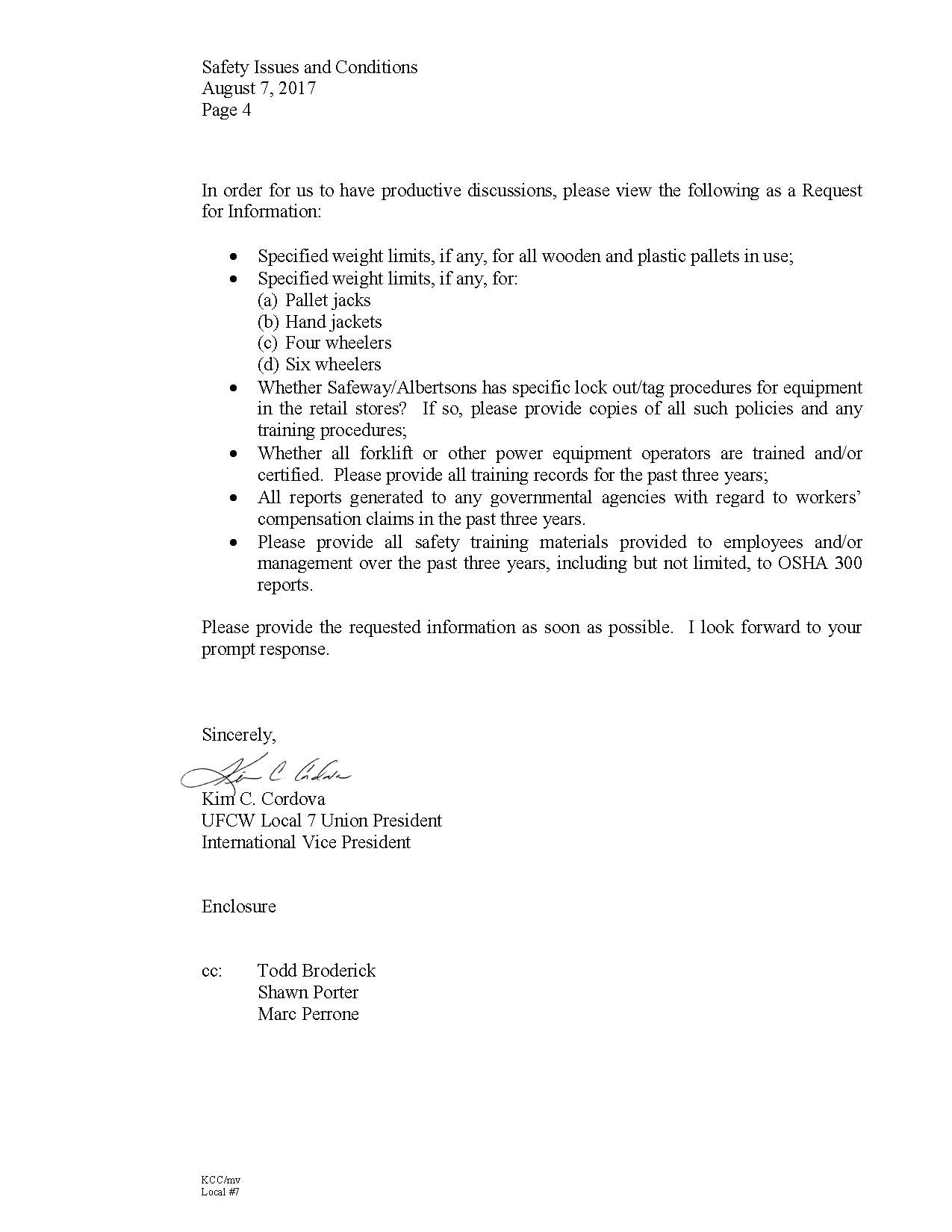 Safety Issues Letter to Safeway/Albertsons