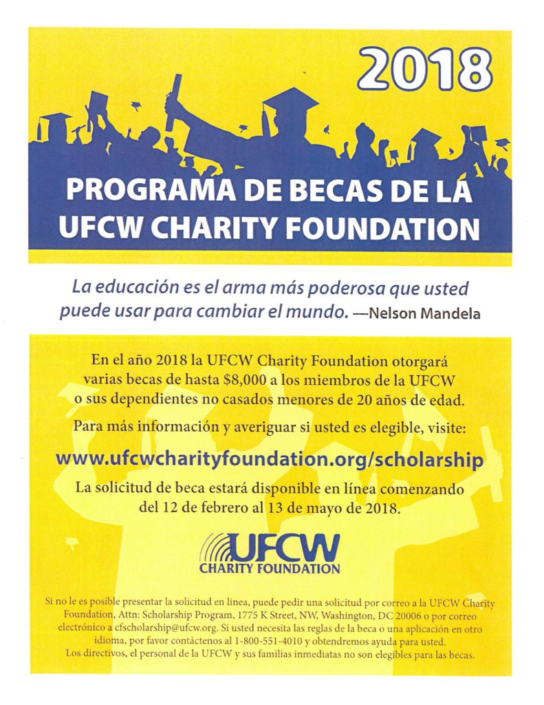 2018 UFCW Charity Foundation Scholarship