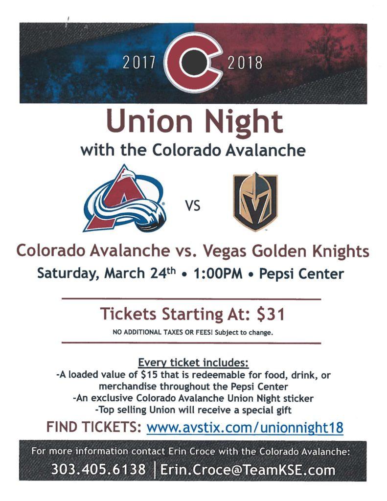 UNION NIGHT – Colorado Avalanche
