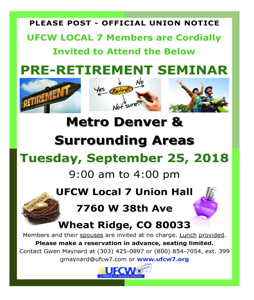 Denver Pre-Retirement Seminar – Fall 2018