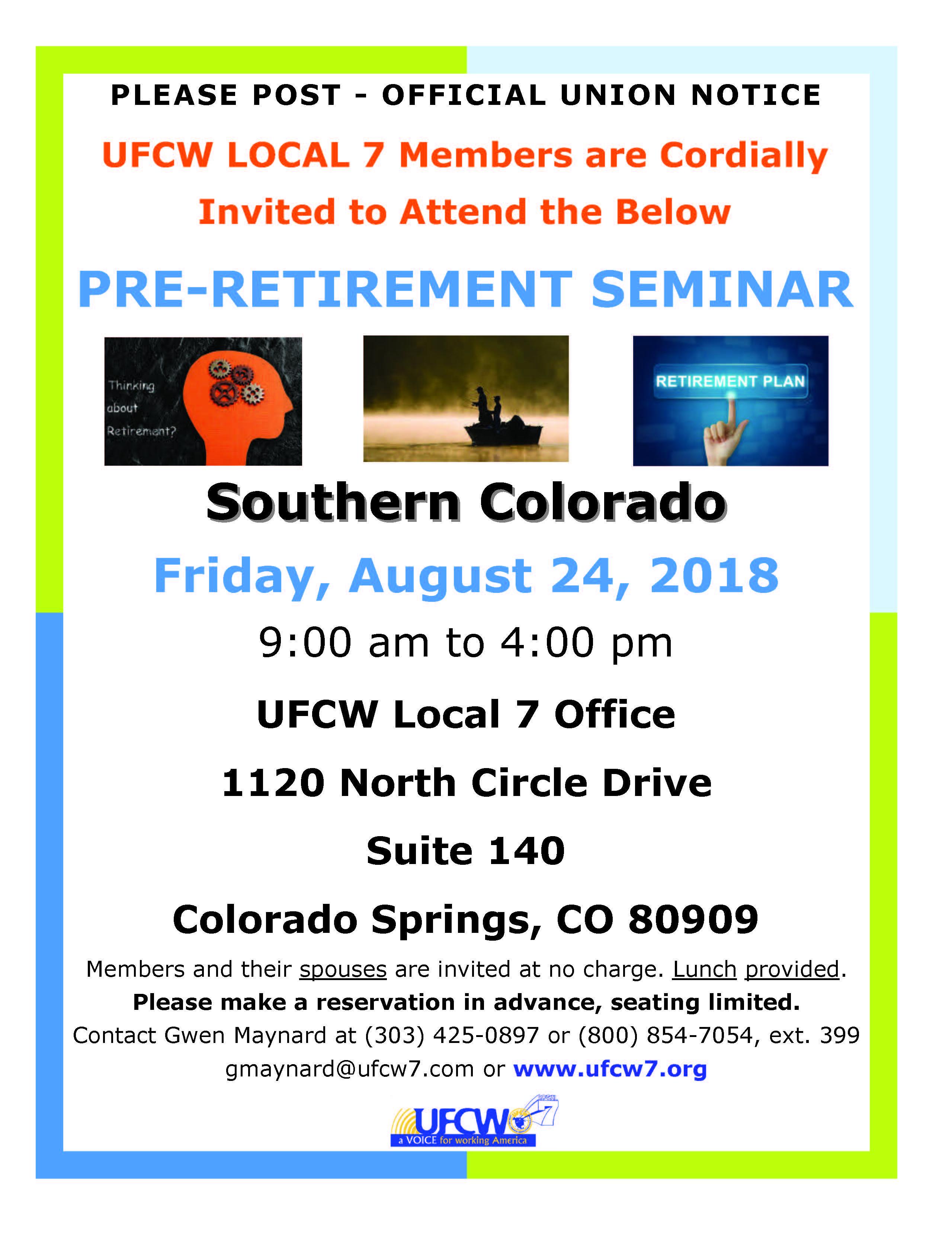 Southern Colorado Pre-Retirement Seminar – Fall 2018