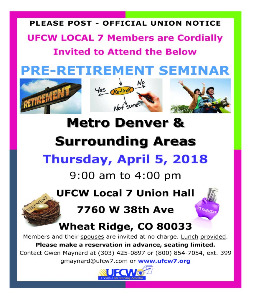 Denver Pre-Retirement Seminar – Spring & Fall 2018