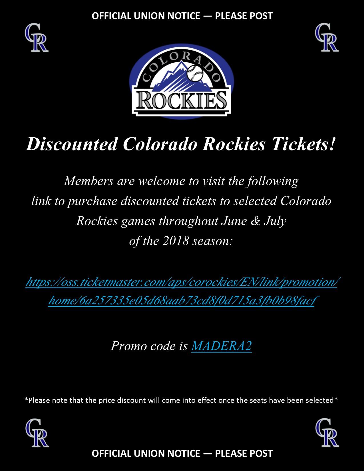 Discounted Colorado Rockies Tickets