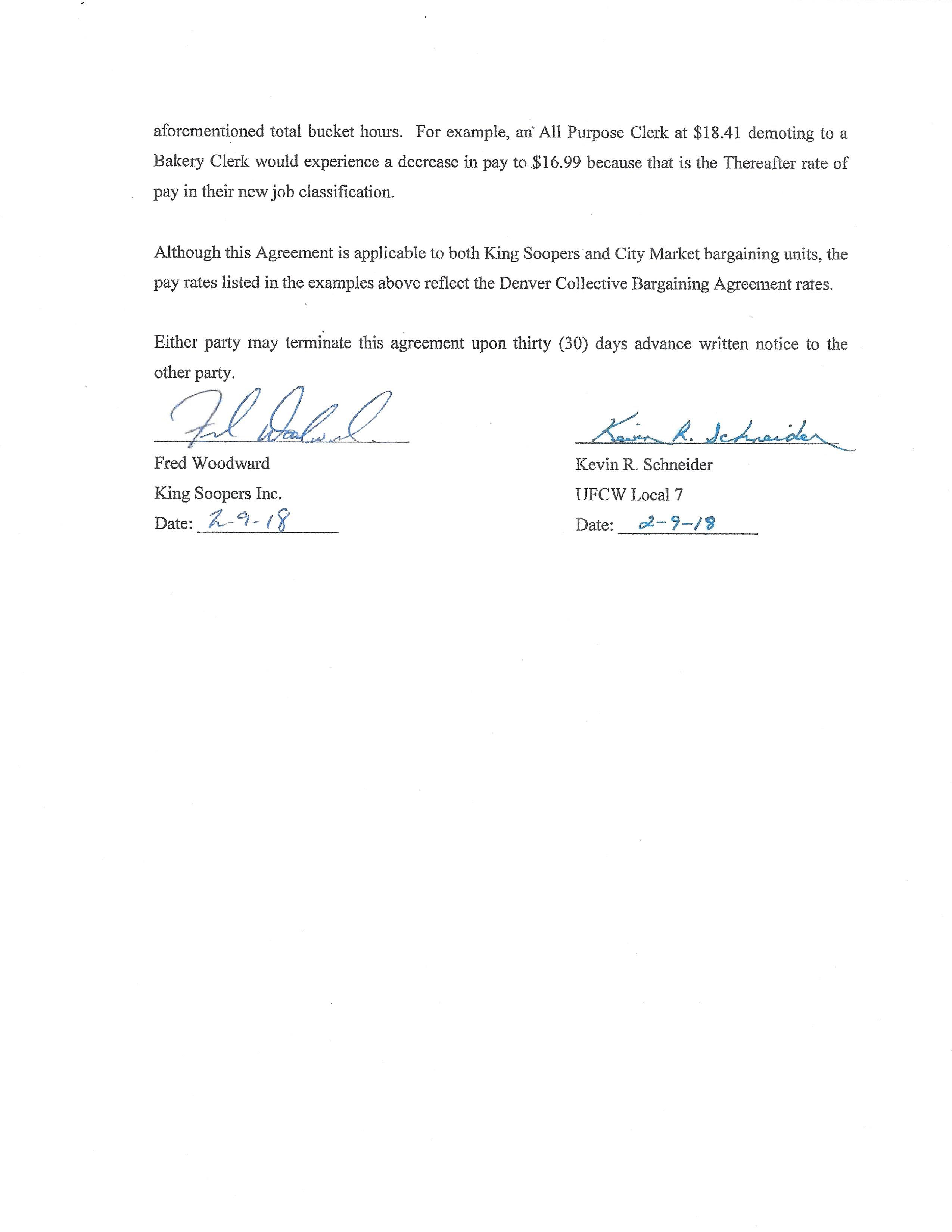 Letter of Agreement – Bucket Hours