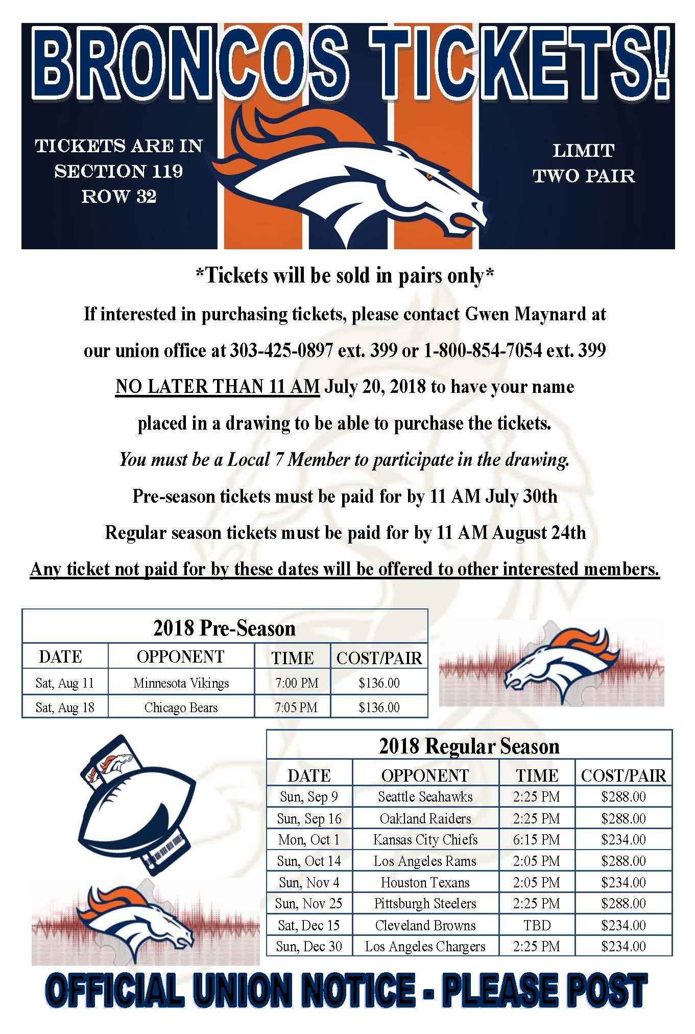 Broncos Tickets!