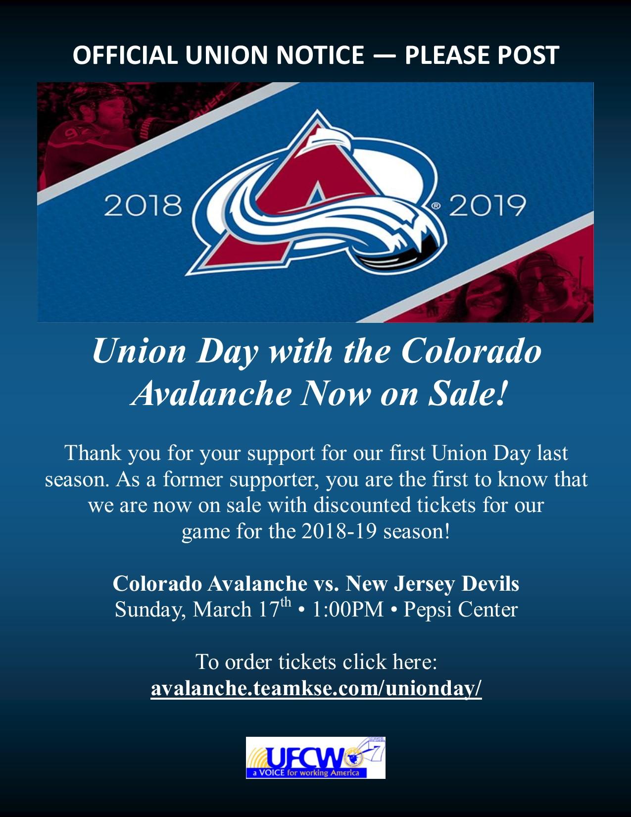 UNION DAY – Colorado Avalanche