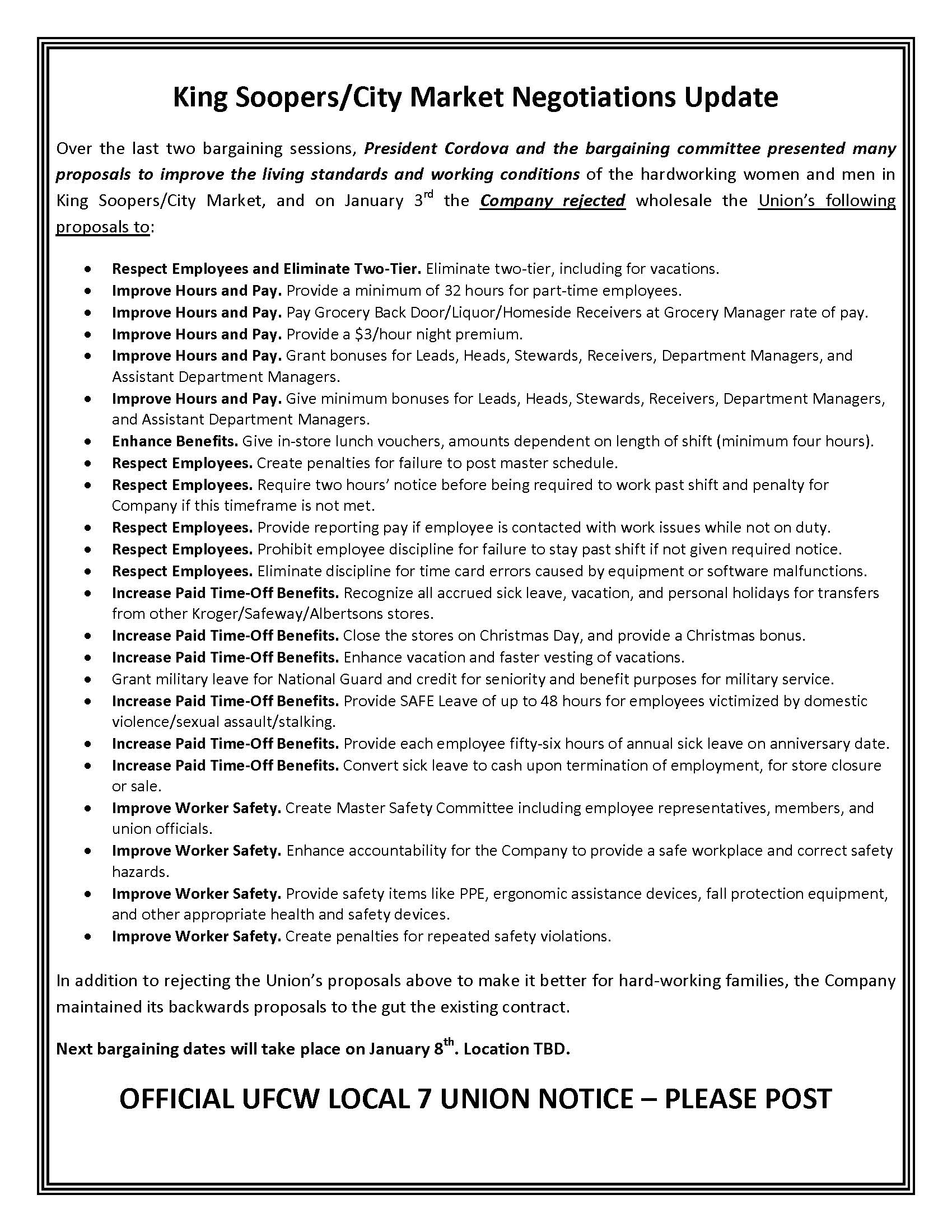 King Soopers/City Market Negotiations Update