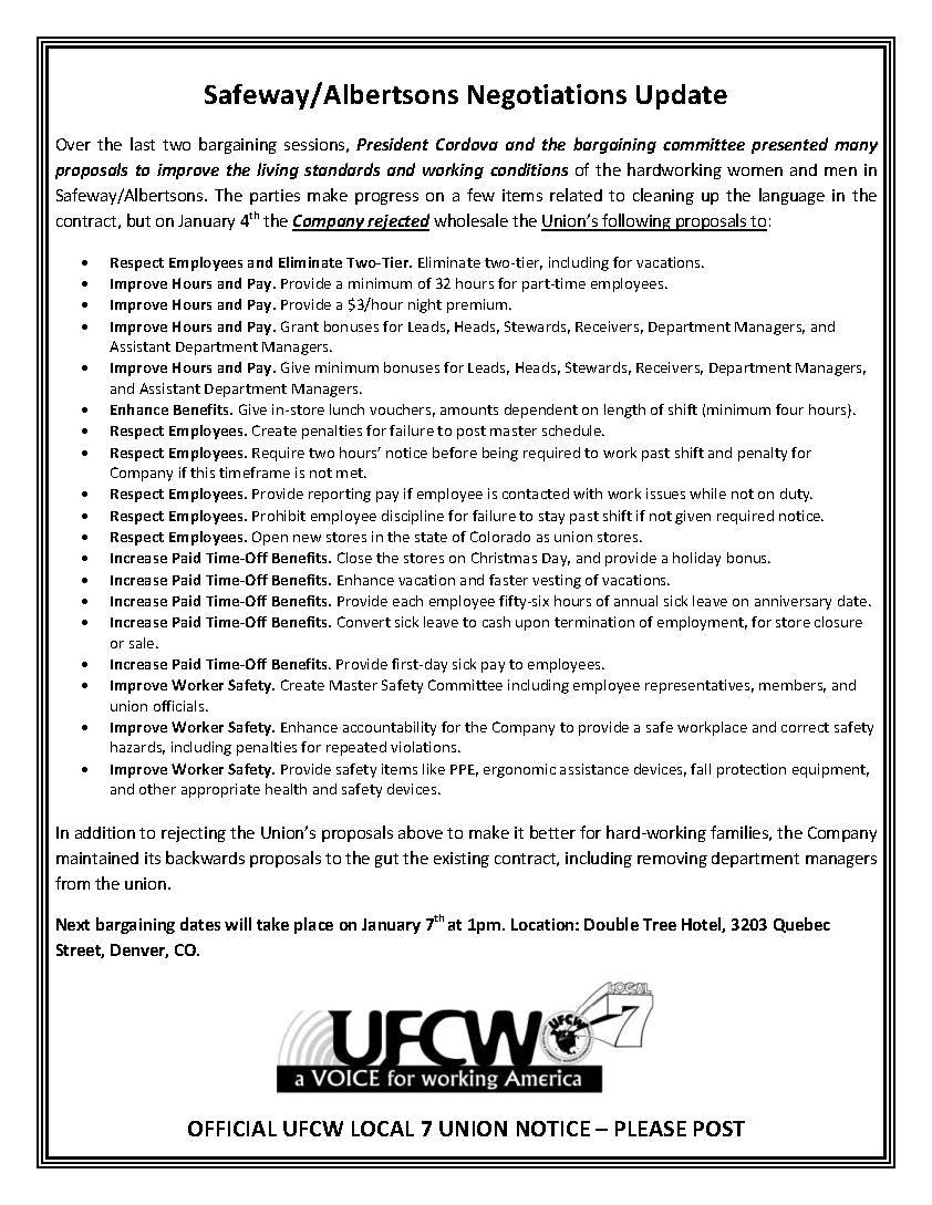 Safeway/Albertsons Negotiations Update