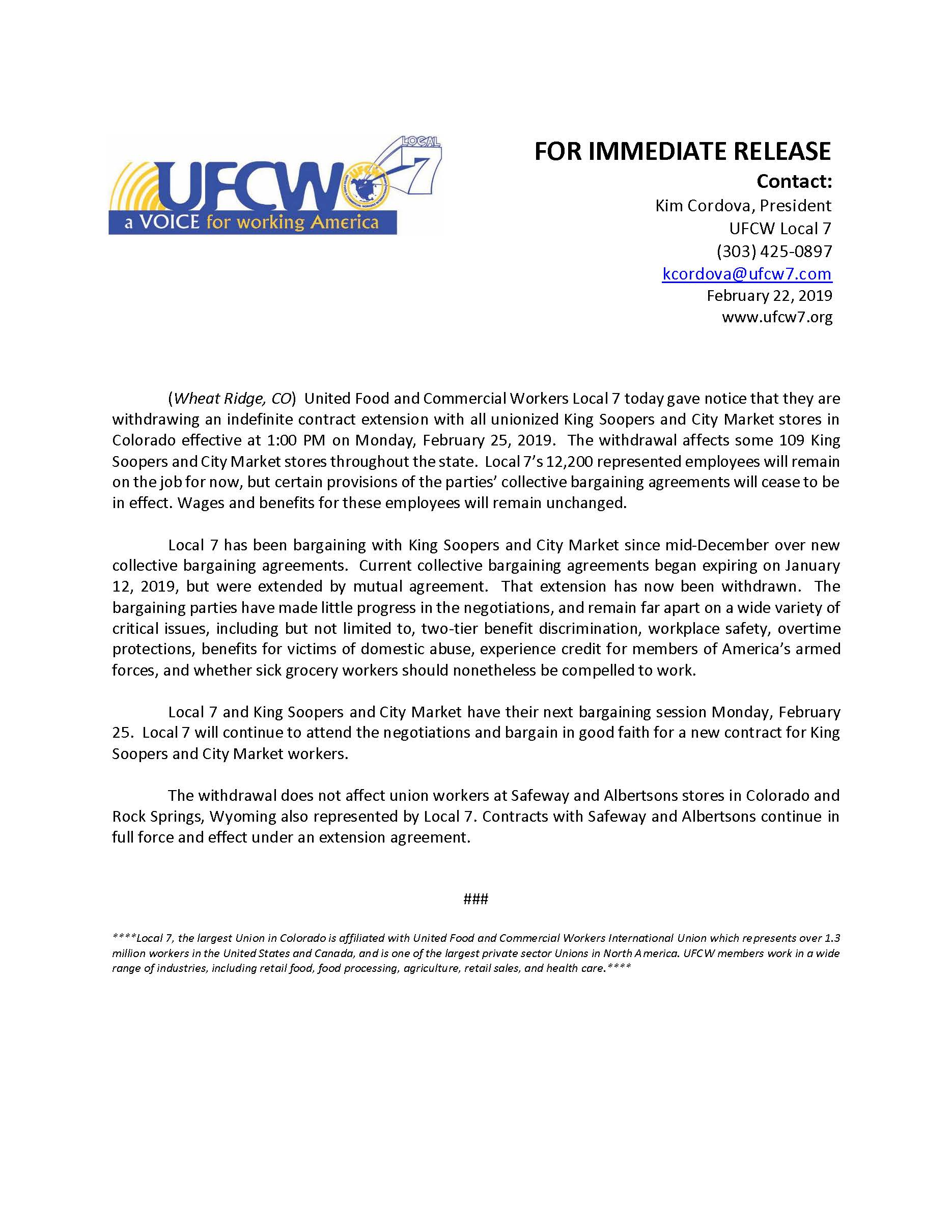 Press Release – King Soopers City Market Extension Agreement Withdrawal