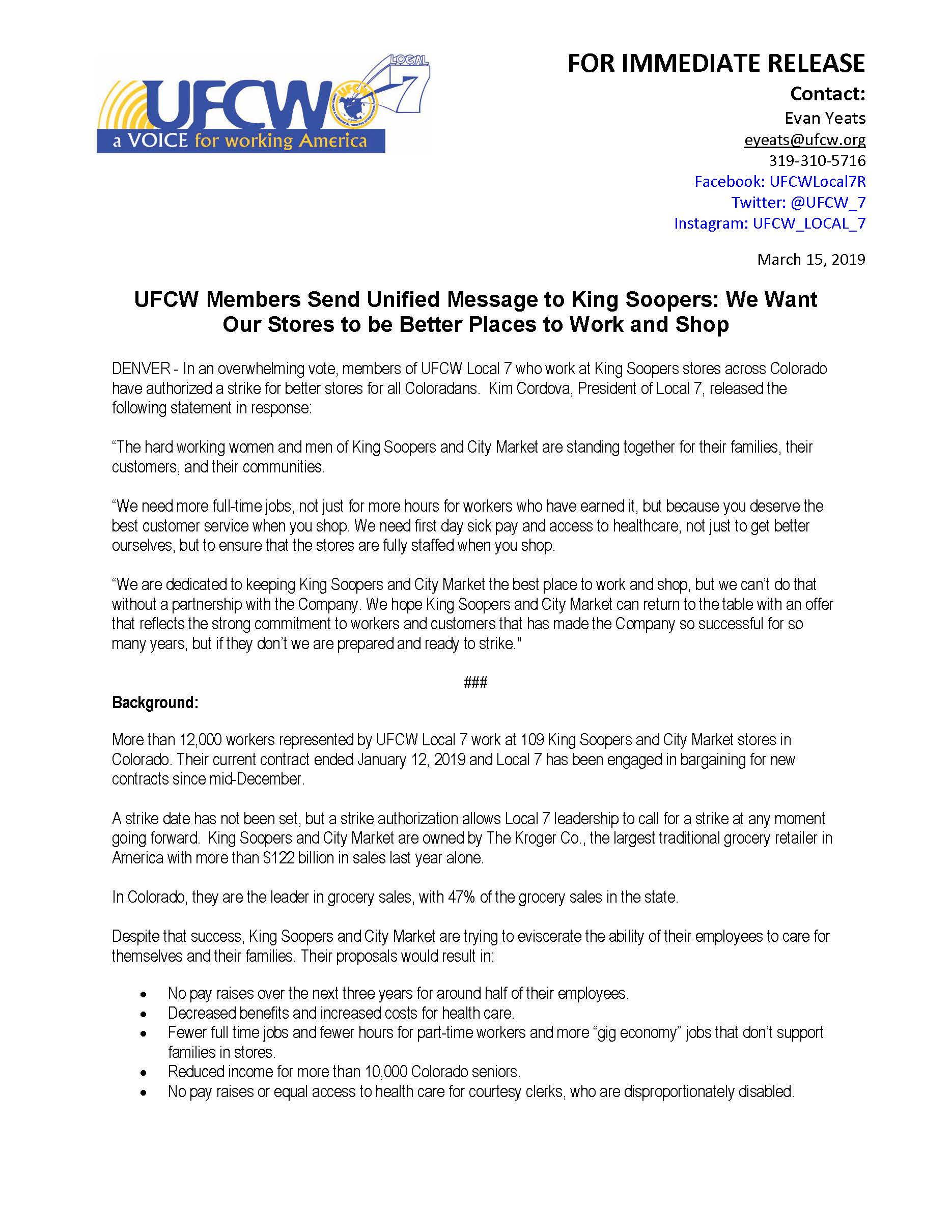 Press Release – Members Send Unified Message to King Soopers
