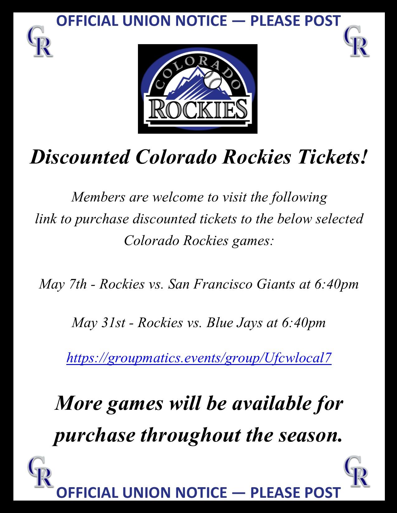 Colorado Rockies Tickets!