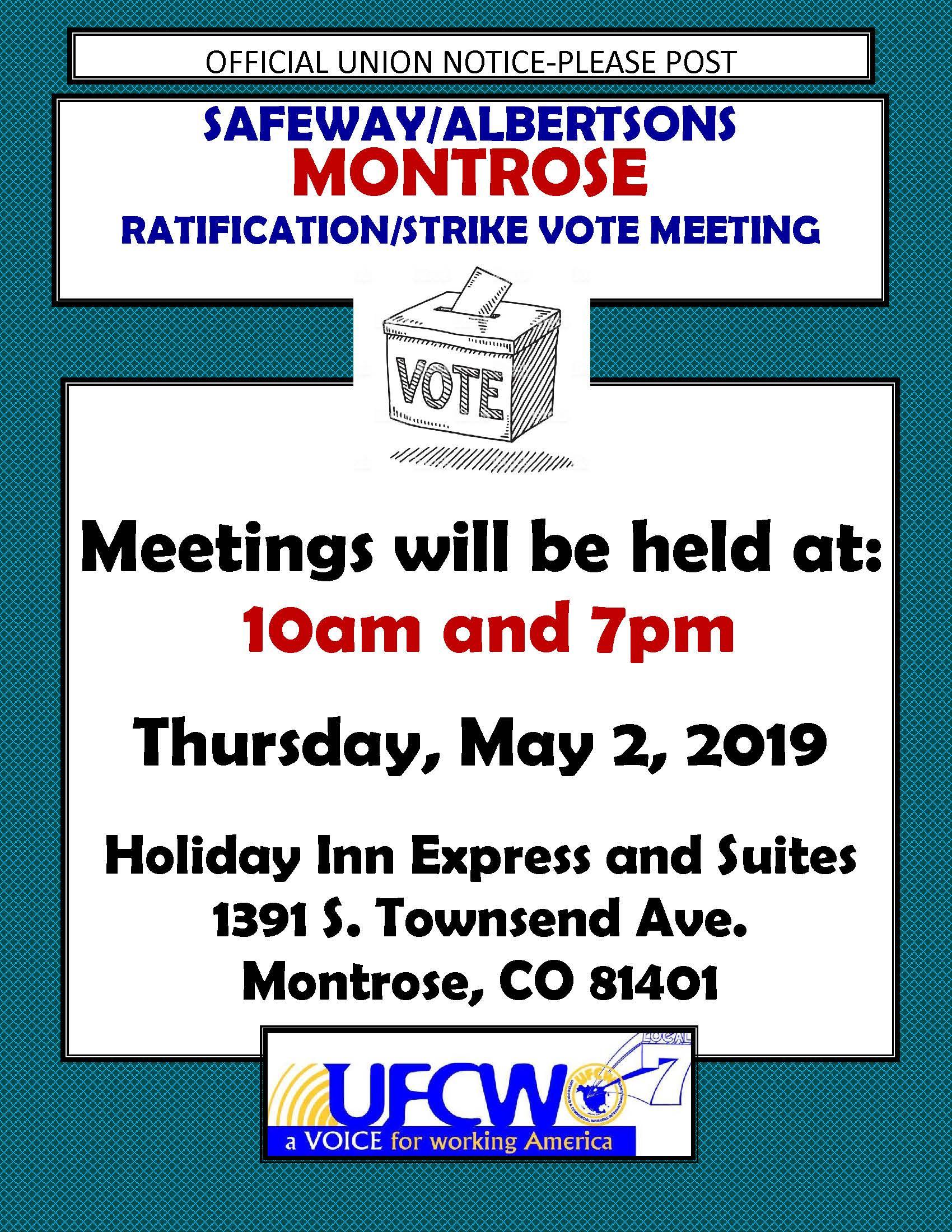 Safeway / Albertsons Vote Meetings!