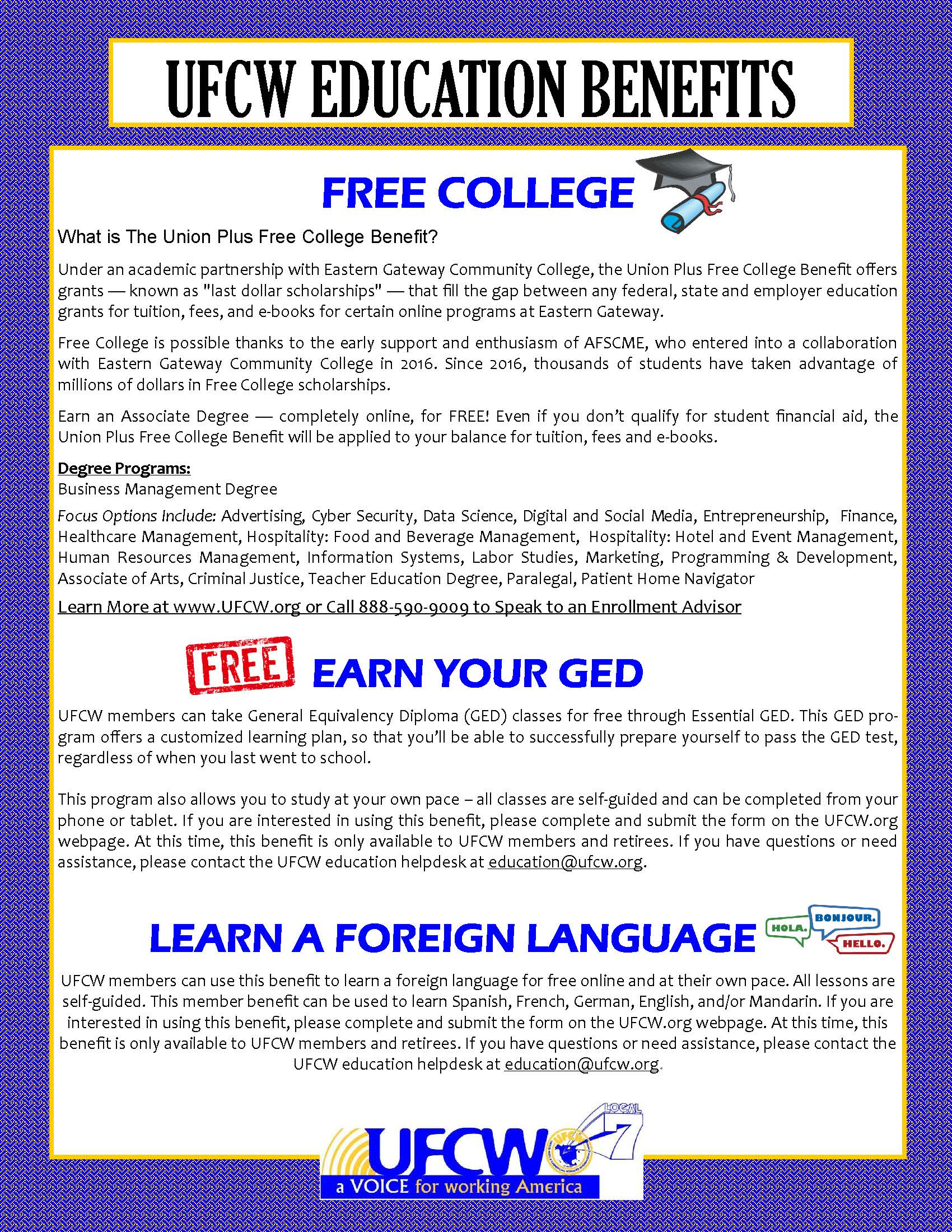 UFCW Free Education Benefits!