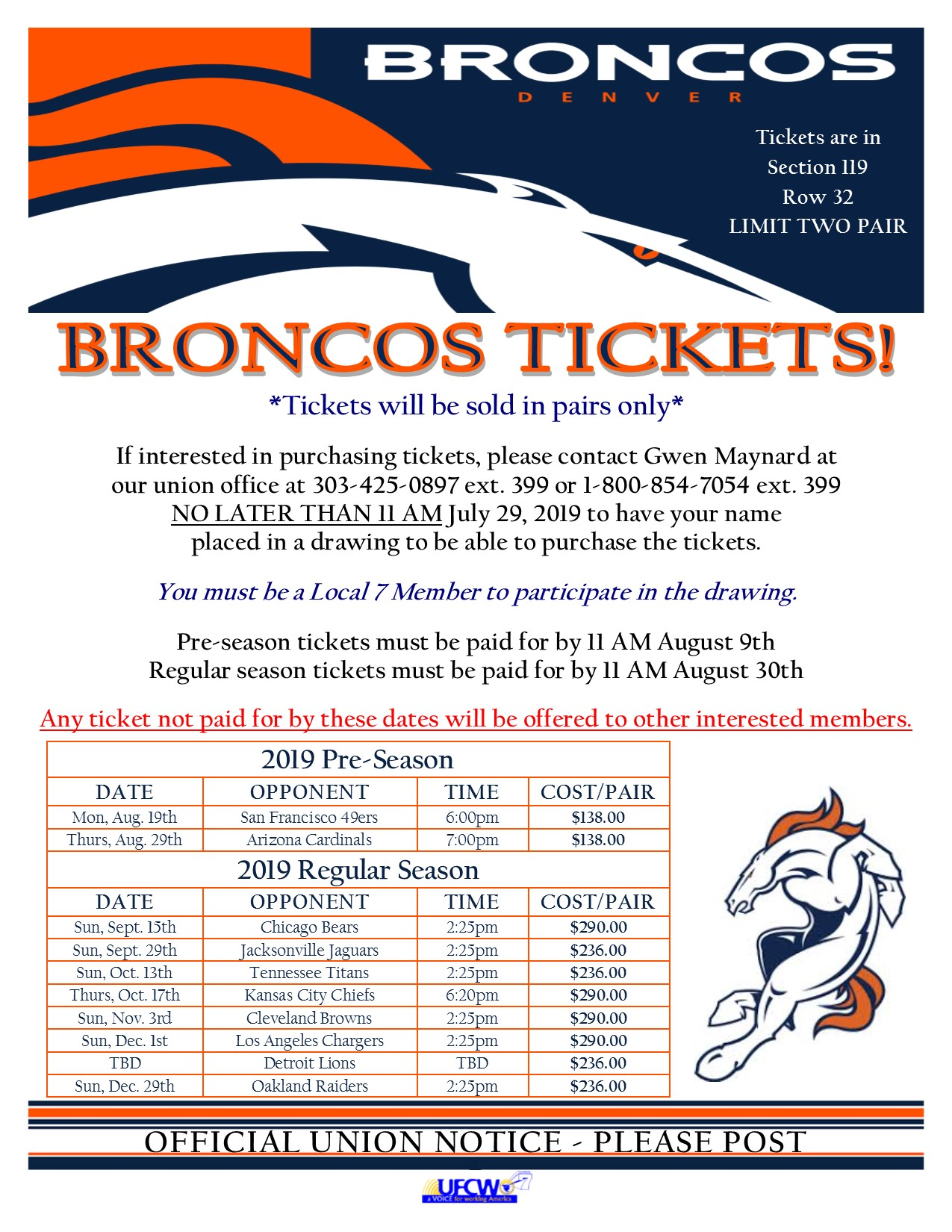 Put Your Name In A Drawing To Purchase Broncos Tickets