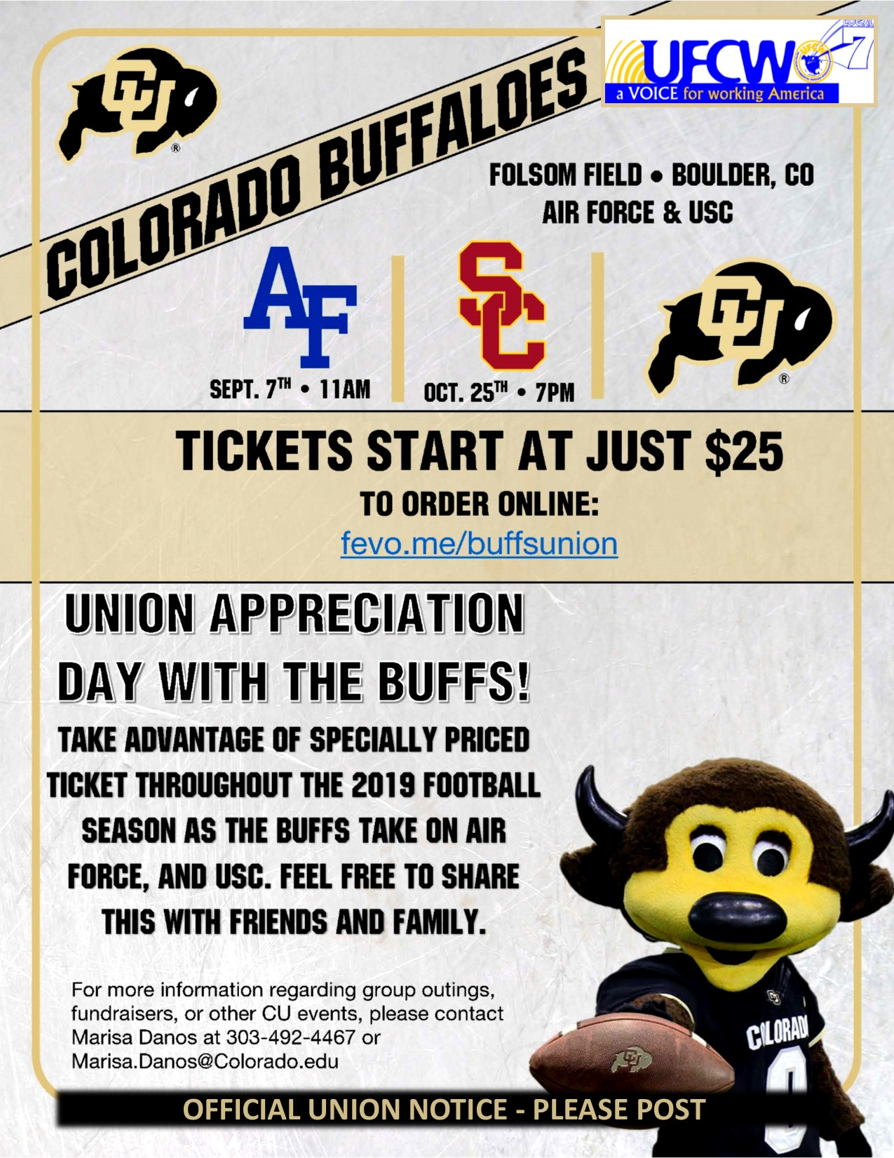 Colorado Buffaloes Union Appreciation Tickets!
