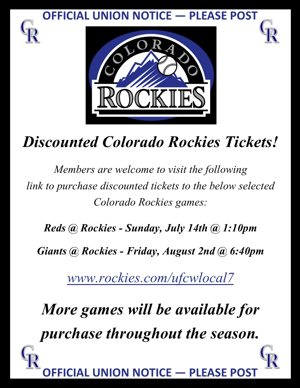 Discounted Rockies Tickets!