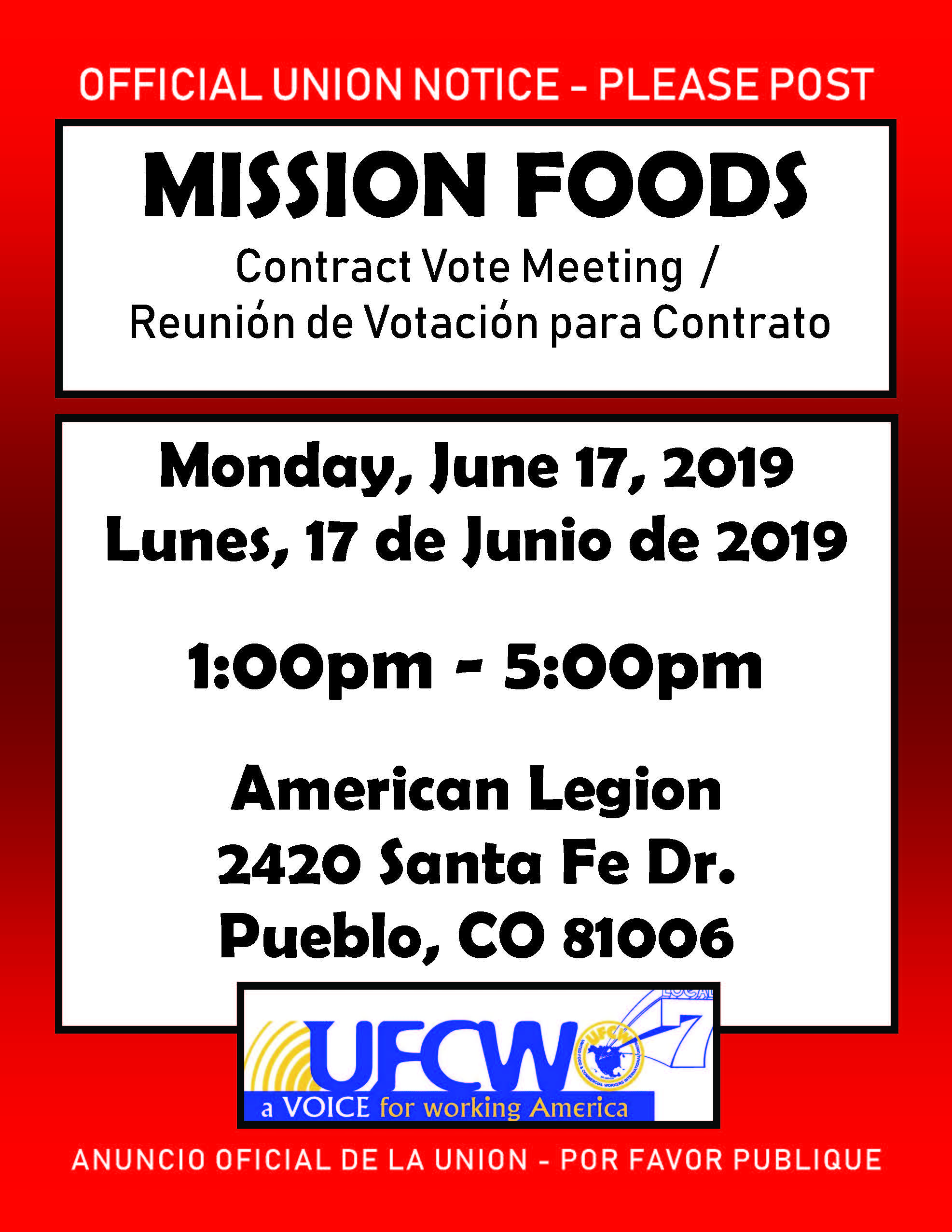 Mission Foods Vote Meeting!