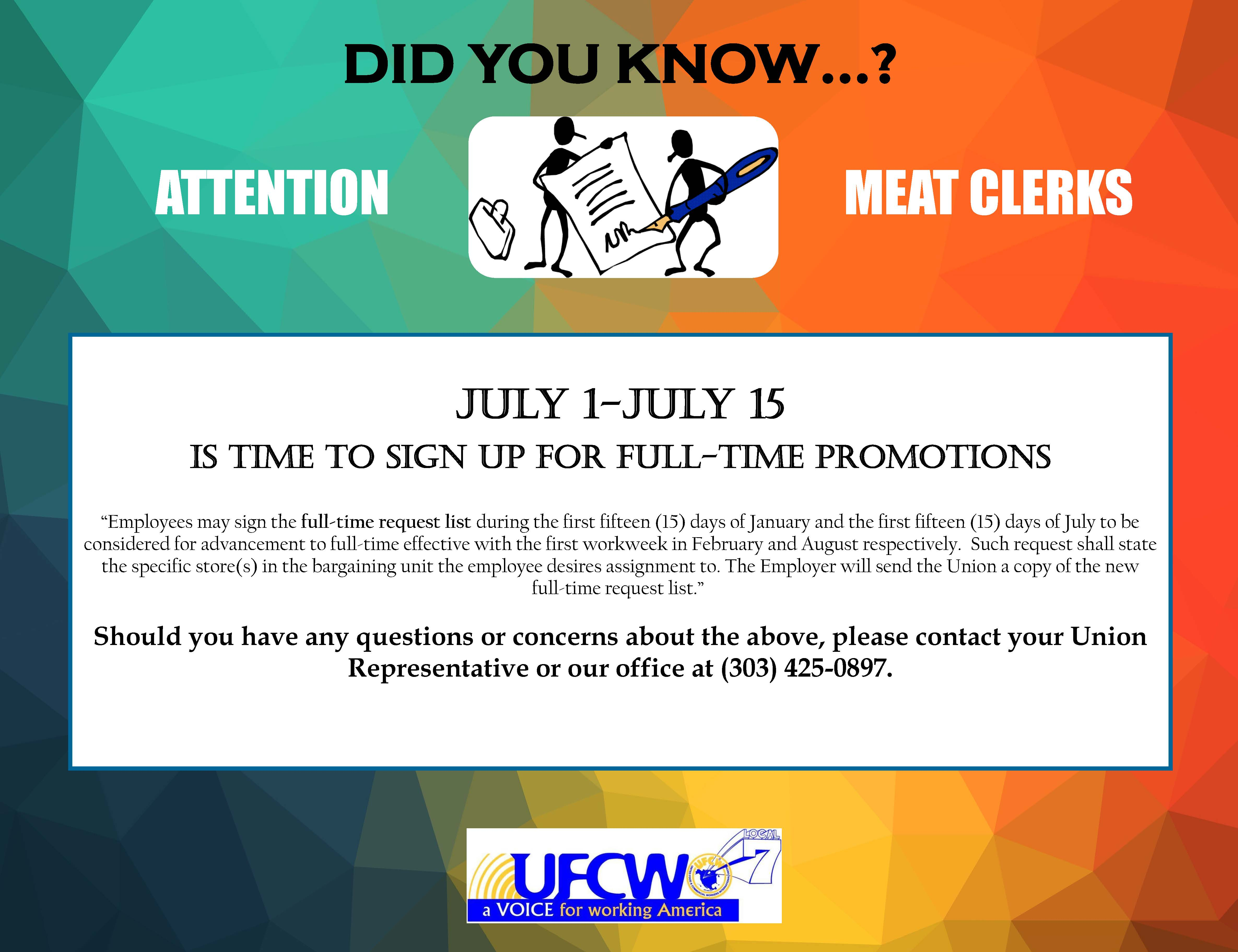 ATTENTION RETAIL & MEAT CLERKS!