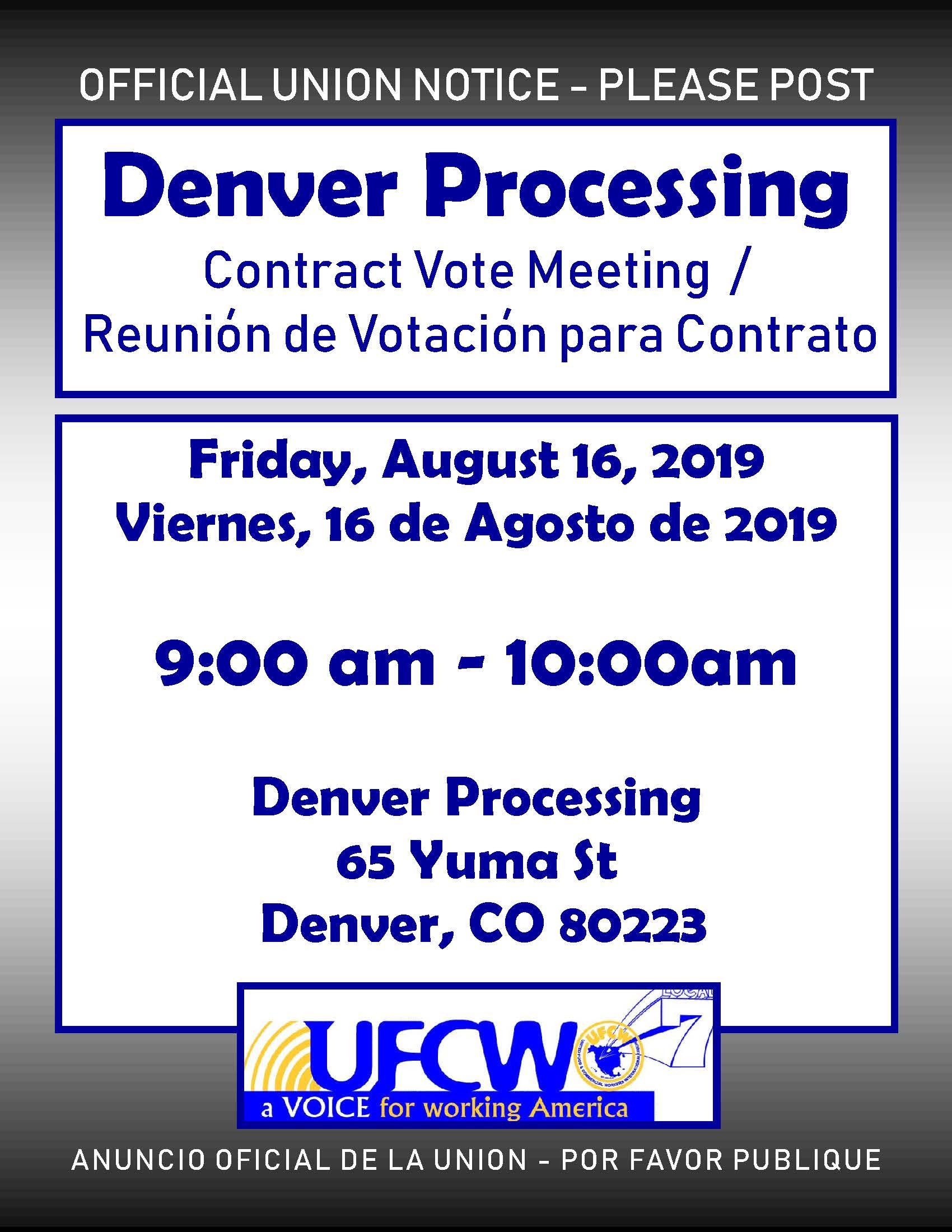 Denver Processing Vote Meeting!
