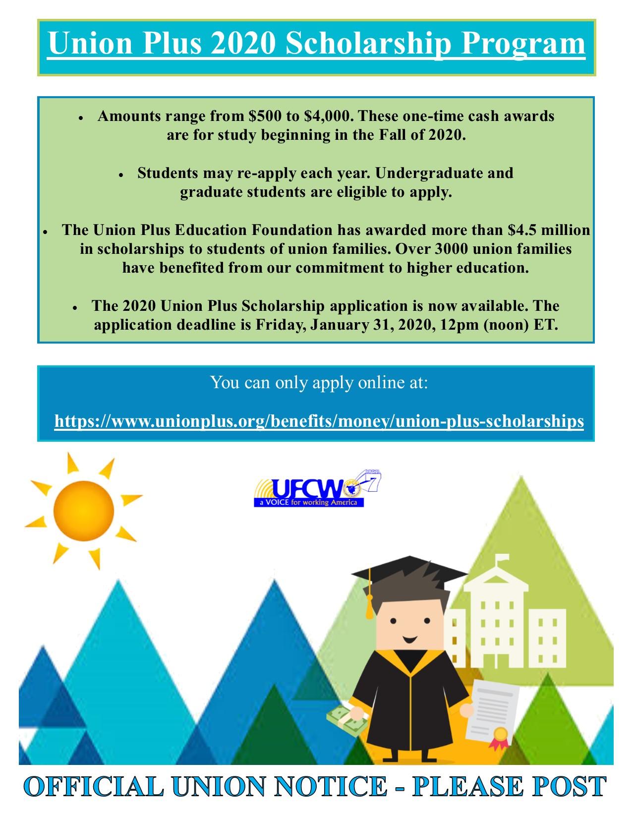 Union Plus 2020 Scholarship Program