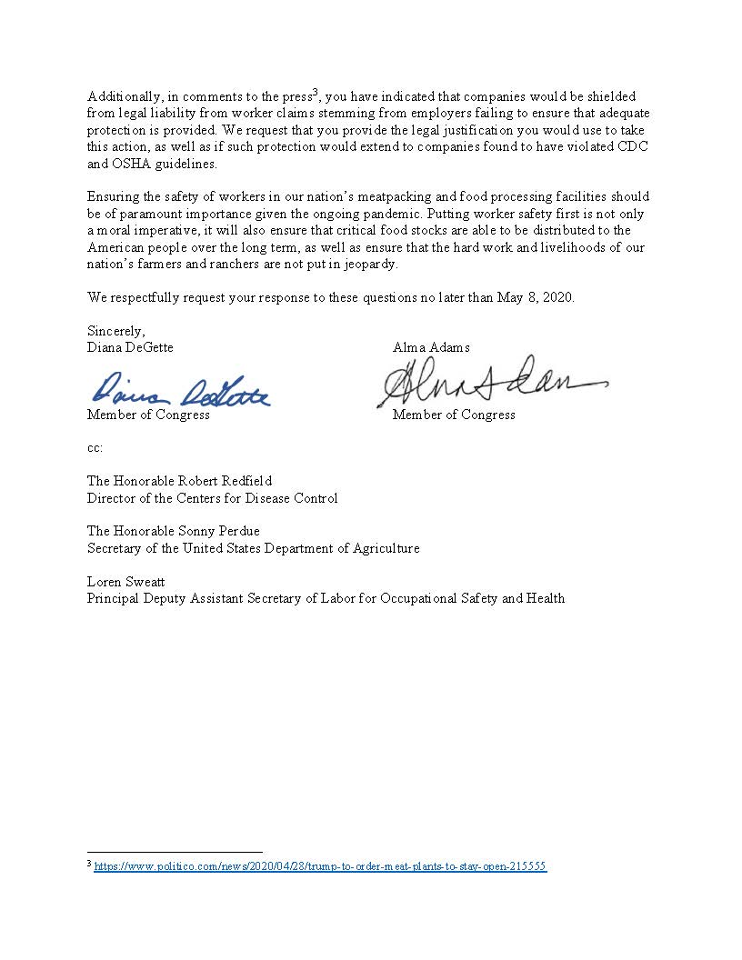Letter to President Trump