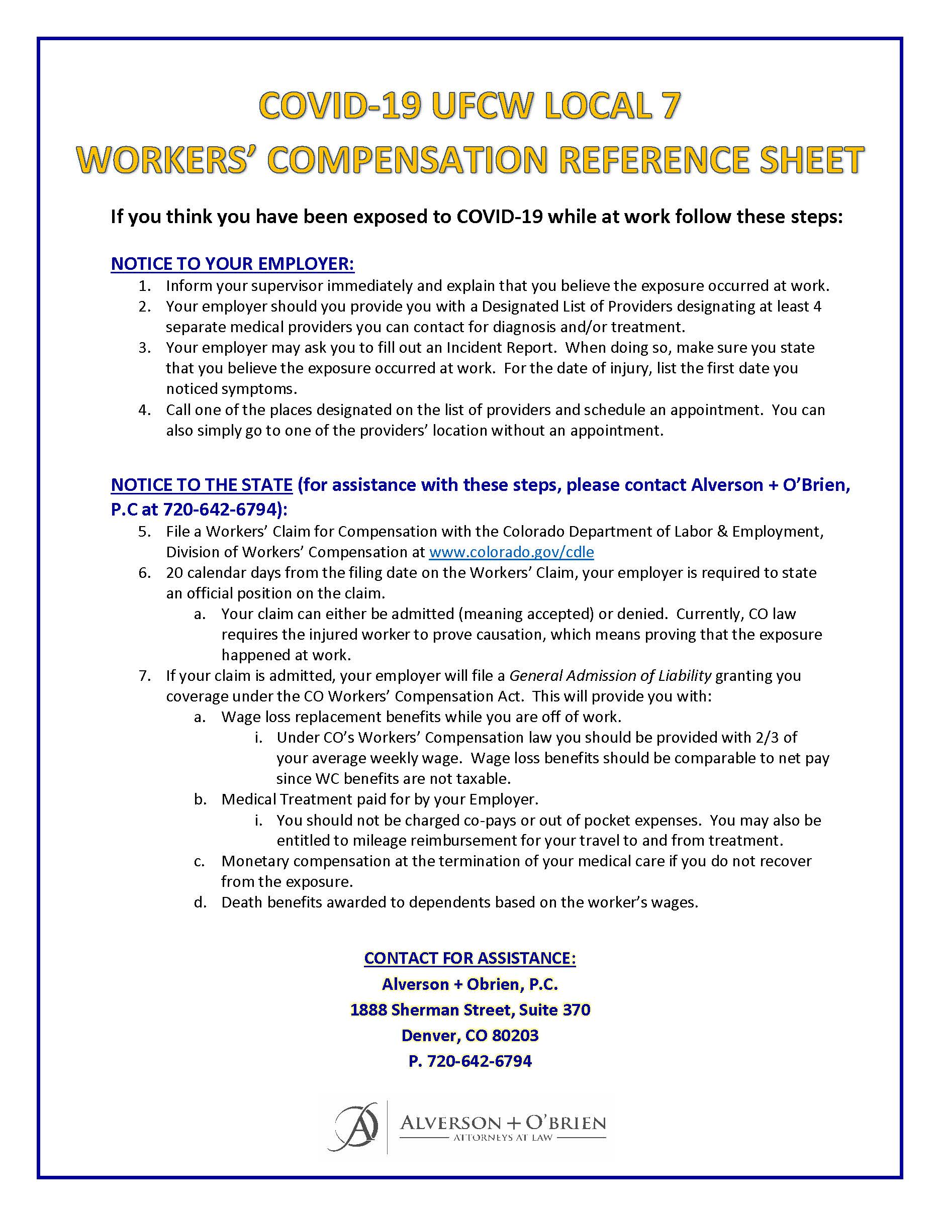 COVID-19 Workers' Comp. Reference Sheet