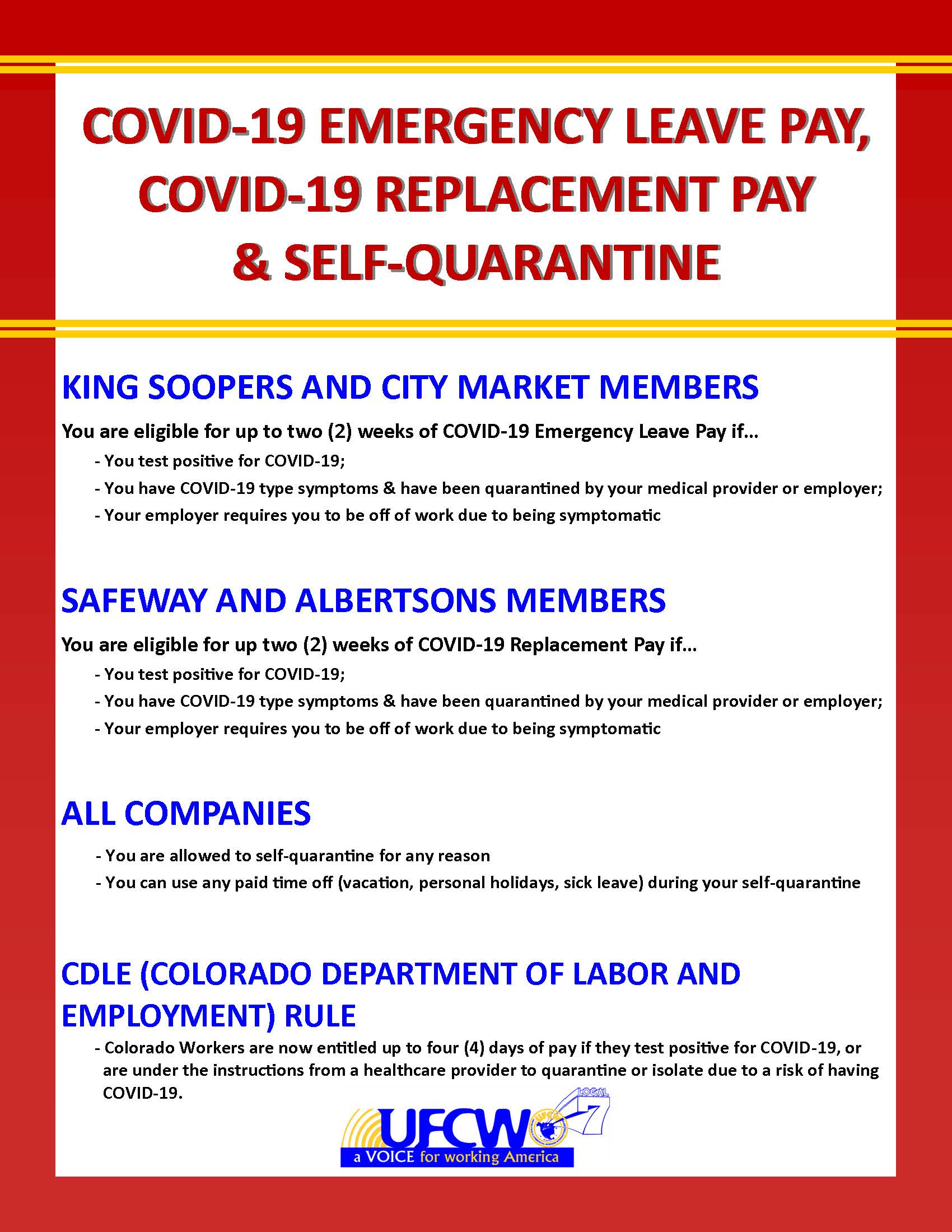 Emergency Leave Pay, Replacement Pay & Self Quarantine