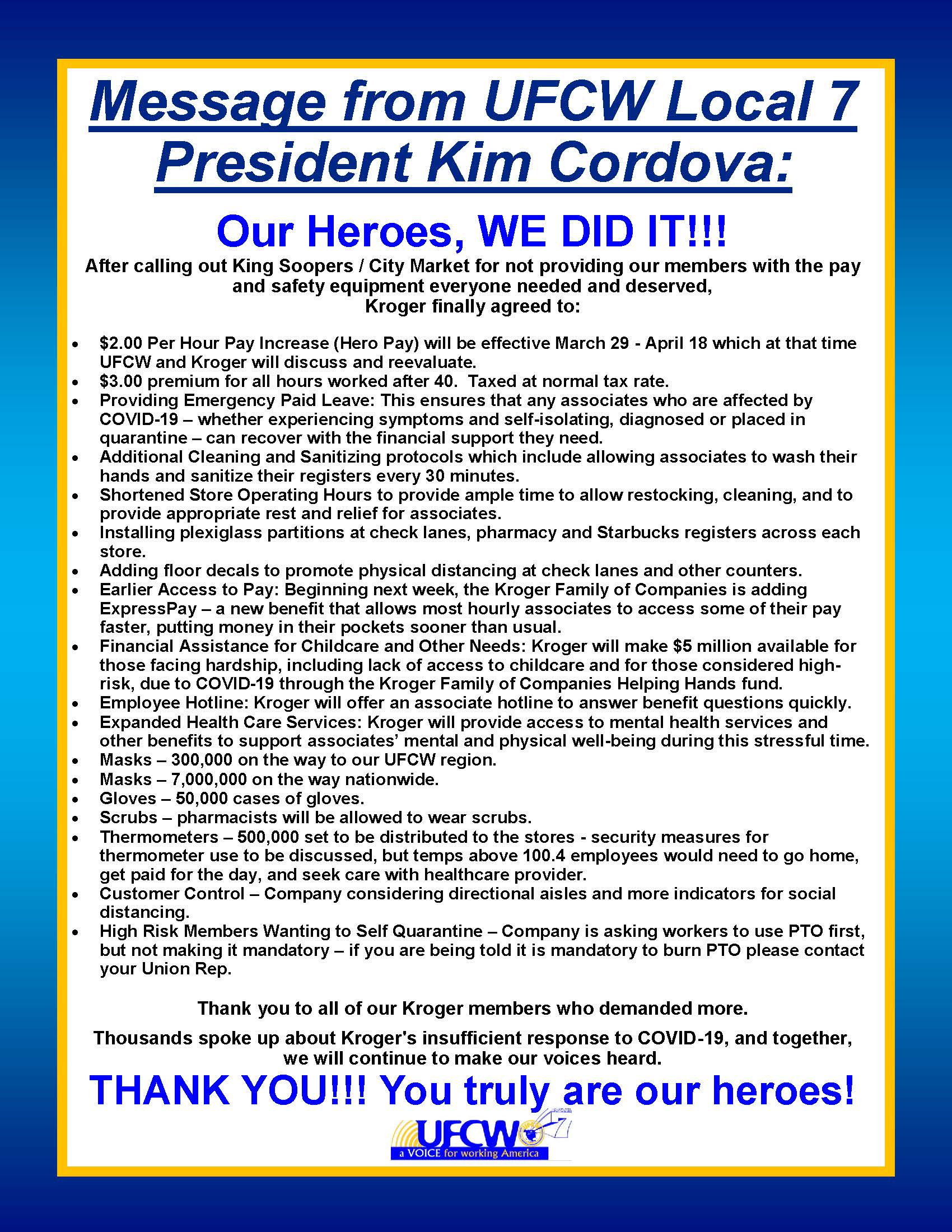 Important Message From President Cordova!