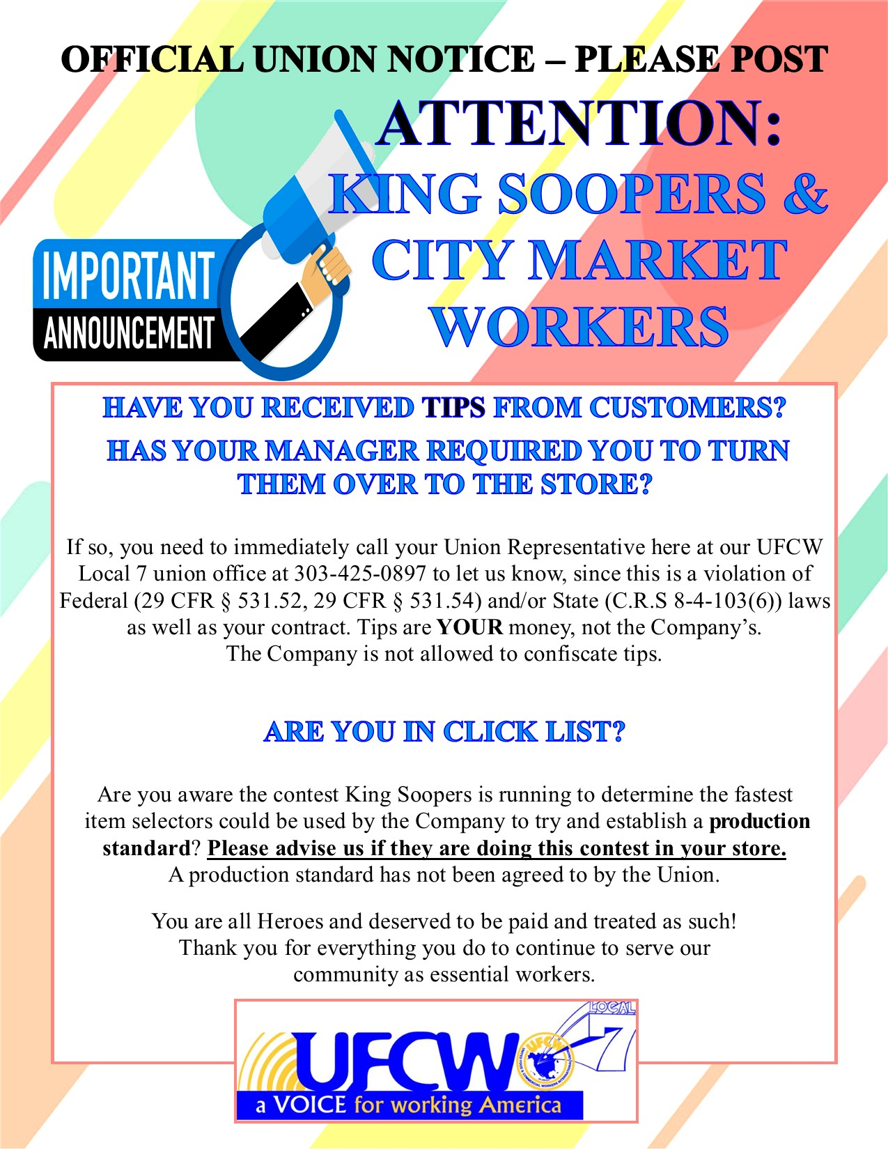 ATTENTION: King Soopers & City Market Workers