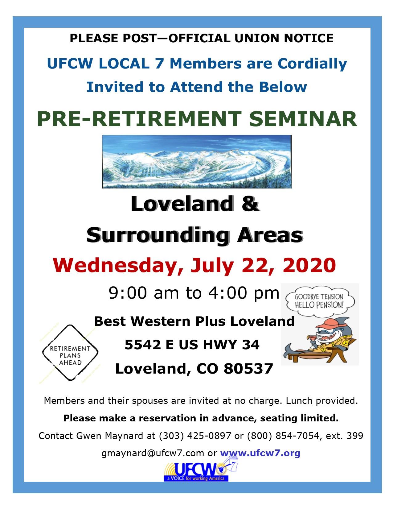 Loveland Pre-Retirement Seminar!