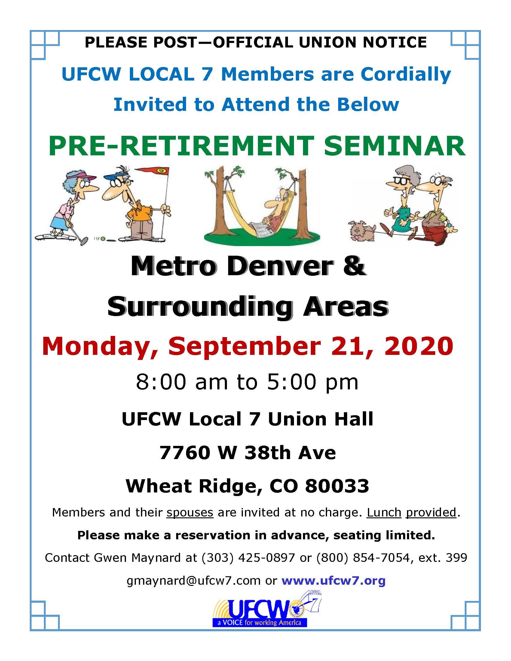 Pre-Retirement Seminars!