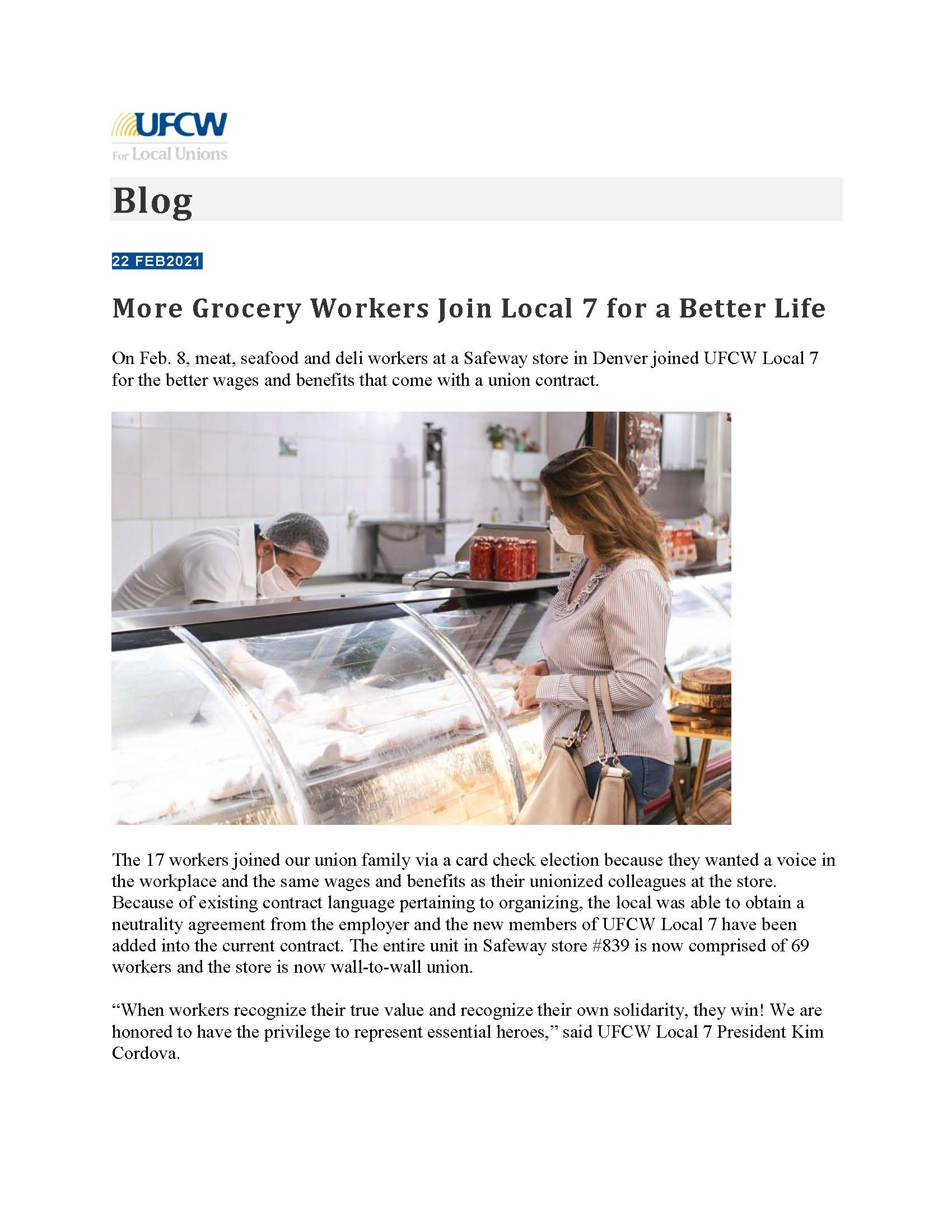 UFCW Blog – More Grocery Workers Join Local 7