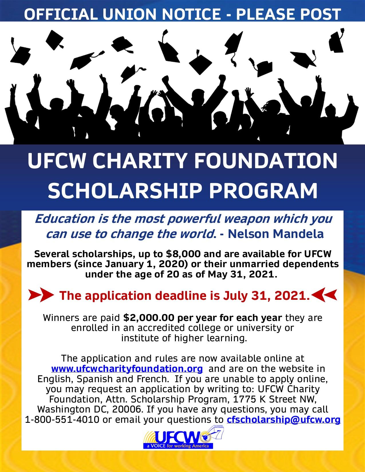 UFCW Charity Foundation Scholarship
