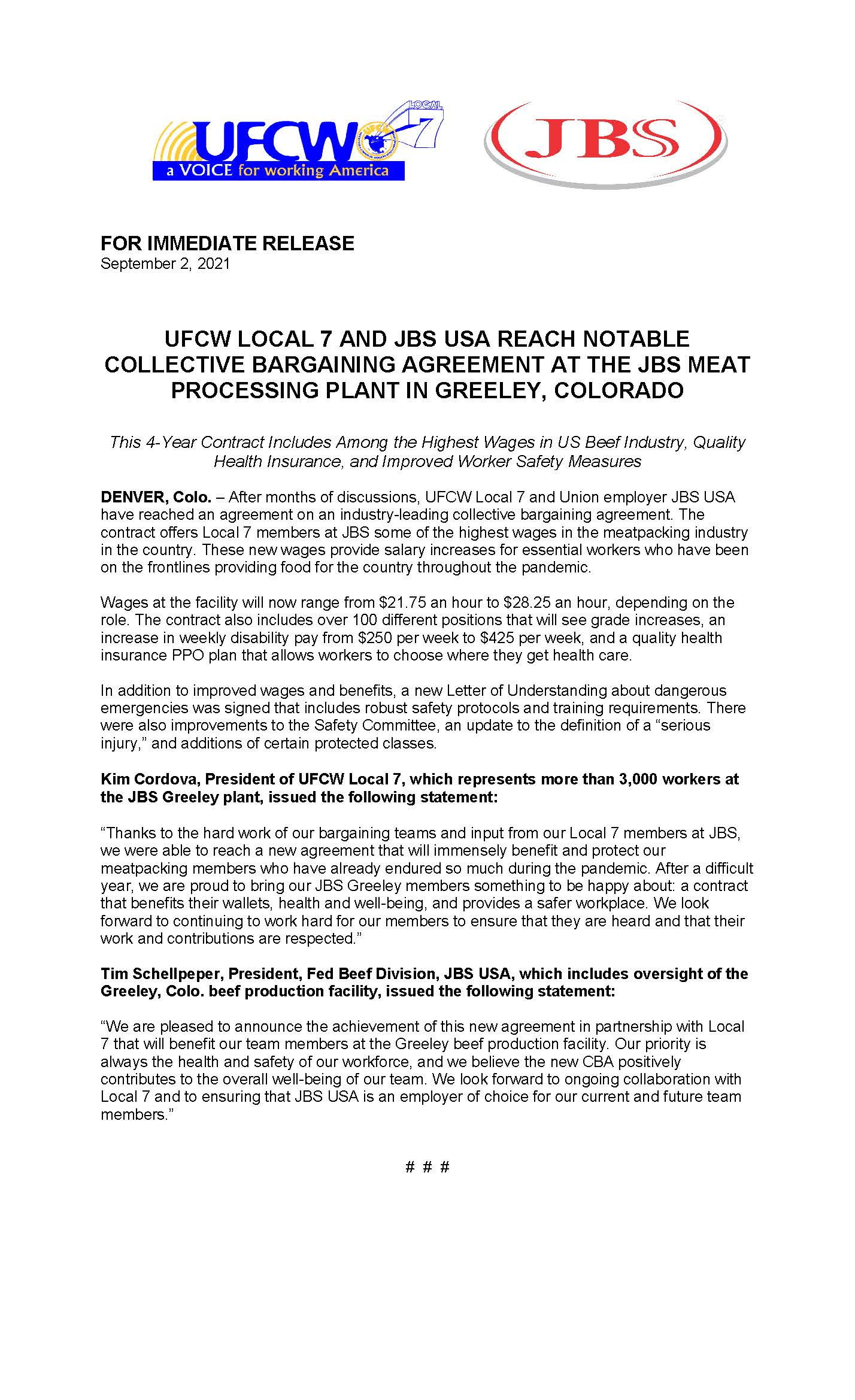 Local 7 and JBS Reach New Notable CBA